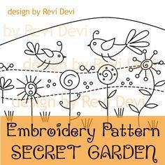 Secret Garden 15046 - Embroidery Pattern - PDF download - Whimsical design