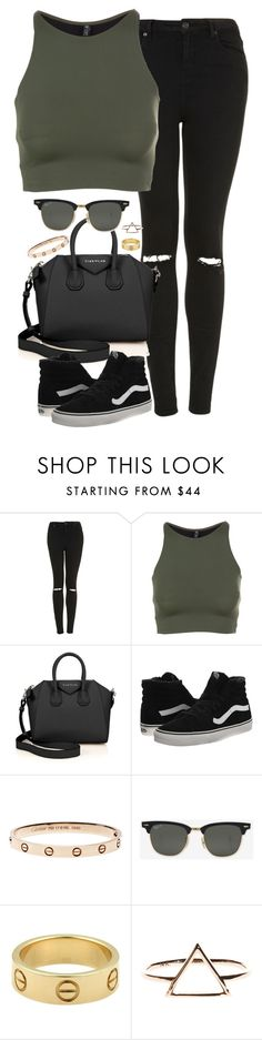 """Untitled #4942"" by eleanorsclosettt ❤ liked on Polyvore featuring Topshop, Onzie, Givenchy, Vans, Ray-Ban and Cartier"