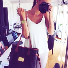 simple top and high ponytail