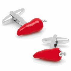 Red Chili Pepper Cufflinks from Cufflinksman. The hottest spice to your cuff this side of your shirtsleeve.
