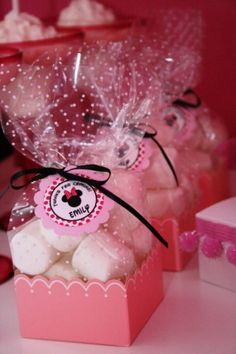 Pink and Black Minnie Mouse Birthday Party Favor Tag Ideas