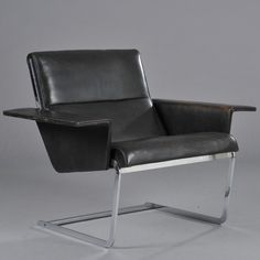 Poul Nørreklit; Leather and Chromed Metal Armchair for PH Furniture, 1964.