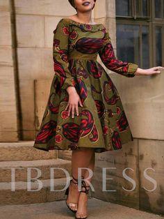 Off Shoulder Falbala Prints Women's Long Sleeve Dress