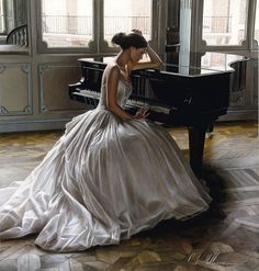 by Rob Hefferan (Piano 4 of Piano Girl, Double Exposition, Grand Piano, Senior Photos, I Love Music, Writing Inspiration, Character Inspiration, Belle Photo, Ball Gowns