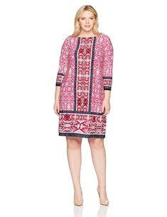 bd51896c04b London Times Women s Plus Size Foulard Stripe Print 3 4 Sleeve Ponte Shift  Dress