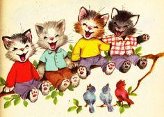 Cute kittens illustration.
