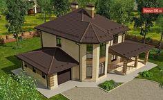 Проект дома C-222M - Проекты домов и коттеджей в Москве Gazebo, Outdoor Structures, Projects, Kiosk, Tile Projects