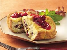 Overnight Filled French Toast with Raspberry Sauce