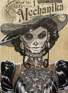 Lady Mechanika, Steampunk Kunst, Arte Judaica, Day Of The Dead Art, Sugar Skull Art, Sugar Skulls, Mexican Art, Gothic Art, Grafik Design