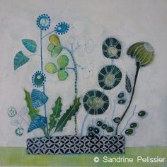 Greenery, original painting, original painting - Sandrine Pelissier, Watercolor and mixed media paintings