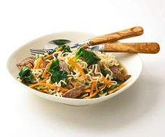 Asian Beef and Noodle Bowl Use prepackaged ingredients to make this delicious one-dish supper in just 30 minutes.