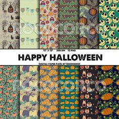 HAPPY HALLOWEEN Digital Paper Pumpkins Halloween by RococoRco