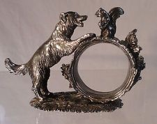 Reed and Barton Silverplate Dog and Squirrel Napkin Holder 1824 Collection