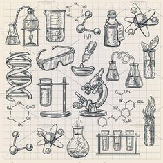 Chemistry icon in doodle style