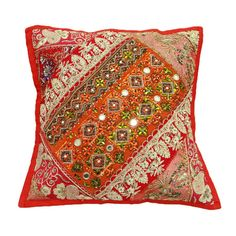 """Cotton Blend Cushion Decorative Pillow Cover Indian Traditional Cushion Cover Patchwork 16"""" X 16"""""""