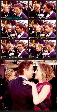 Jeremy Renner & his mom ...Do you try and set him up with people on the red carpet? Jeremy and Scarlet are so darn adorable!
