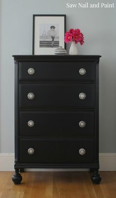 Just a quick post tonight to share the before and after photos of a great vintage chest I just finished. This piece was in good condition and I fell in love with the pretty ball feet and ca… Milk Paint Furniture, Black Painted Furniture, Diy Garden Furniture, Furniture Projects, Furniture Makeover, Painting Furniture, Repurposed Furniture, Armoire Makeover, Refinished Furniture