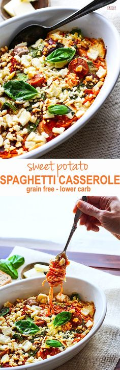 Healthy sweet potato spaghetti casserole! Lighten up a classic comfort food dish with this grain free spaghetti casserole made from spiralized sweet potatoes! Pack it full of protein and veggies and you've got yourself a simple wholesome gluten free meal in no time! Plus it's amazingly delicious, of course!