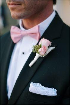 pink and black groomsman ideas #gardenwedding #weddingchicks http://www.weddingchicks.com/2014/01/16/dynamite-and-pearls-wedding/