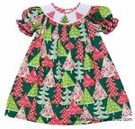 This is one of our holiday favorites by Claire & Charlie. Our Girls Green, Pink and Red Christmas Print Smocked Bishop Dress features pretty puff sleeves and colorfully decorated Christmas trees on the dress and smocked neckline. Consult our Bargain Bin for your gift list to make this Christmas very merry. Shop BestDressedChild.com for festive holiday boys' togs, too.