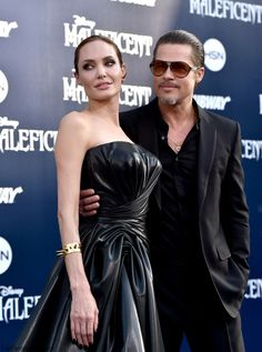 """Stunning Angelina Jolie and Brad Pitt at """"Maleficent"""" World Premiere in Los Angeles."""