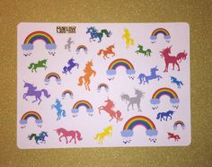 Rainbow and Unicorn stickers for Erin by MaklowPlannerGoodies