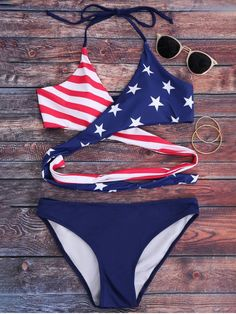 Striped Patriotic American Flag Wrap Bikini Set - BLUE M