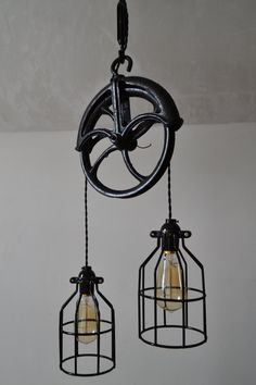 Repurposed Barn Pulley Industrial Light by WestNinthVintage. Would look good in the living area of the barn home or as nightstands in bedroom.