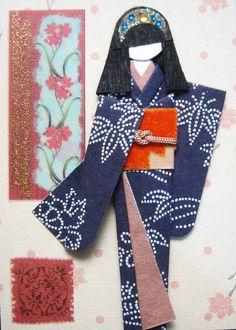 https://flic.kr/p/bsruym | ATC935 - Indigo beauty 2 | Made for anjen_ca. ATC with hand-made Japanese paper doll.  Materials: Background paper from janny atc (Thanks!); stickers; kimono (indigo washi); obi (velvety paper scrap); viscose string on obi; hair decor (nail sticker).