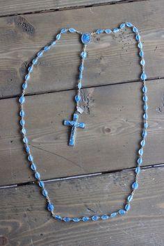 Rare Vintage Lourdes Brevetto Blue Bubble Rosary Large Cross Legatura Alpacca
