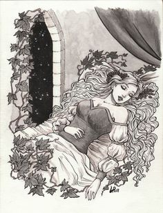 Sleeping Beauty illustration for Inktober 2018 Beauty Illustration, Fantasy Illustration, Sleeping Beauty Art, Disney Animated Films, Princess Aesthetic, Grimm Fairy Tales, Fairytale Art, Bedtime Stories, Animation Film