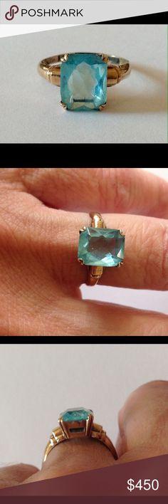 10K Yellow Gold Aquamarine Ring Emerald Cut Antique 10k yellow gold aquamarine ring emerald cut.  Size 6.5 8x10mm genuine aquamarine. Jewelry Rings