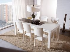 White Dining Room Table Rectangle Dining Table: Cafe And House — All About Table : All Small White Dining Table, Rug Under Dining Table, White Dining Room Table, Dining Table Sizes, Rectangle Dining Table, Modern Dining Table, Dining Table Chairs, Dining Rooms, Extendable Table And Chairs