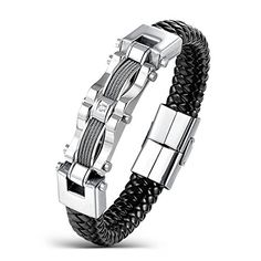 Areke Men's Stainless Steel Braided Leather Bracelets, CZ Punk Cuff Bracelet Bangle Silver 7.5-8.5 Inch