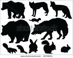 forest animals silhouette - Google Search