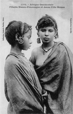 """Africa   """"Young Moor Girls. Mauritania""""   Vintage Postcard; date and photographer unknown"""