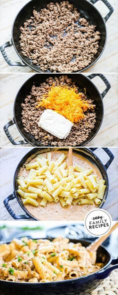 Homemade Cheeseburger Pasta is one of our favorite family meals! It is rich creamy and comforting. Packed with two kinds of cheese savory ground beef and tender pasta it comes together in just one skillet and packs a powerful punch for taste! Pasta Facil, Pasta Casera, Easy Family Meals, Quick Meals, Easy Pasta Meals, Easy Family Recipes, Easy Meals For Two, Ideas For Supper Easy, Easy Pasta Bake