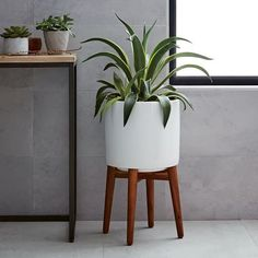 $179 X2 WOULD LOVE A COUPLE OF THESE! Mid-Century Turned Leg Standing Planters - Solid