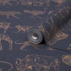 Safari Midnight/Rose Gold | Heavy weight wallpaper from Graham & Browns Boutique Luxury Collection. Quirky modern safari animal theme design in metallic rose gold | Shop Rose Gold Wallpaper @ WonderWall
