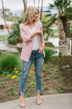 More ideas for our blushing pink blazer. Pair it with these denim cuffed jeans, white cami and strappy heels! Perfect for any spring party! 🌸 The Effective Pictures We Offer You About Blazer Outfit vi Pink Blazer Outfits, Casual Work Outfits, Mode Outfits, Pink Blazers, Blazer Dress, Dress Outfits, Pink Heels Outfit, Blazer Outfits For Women, Casual Shoes