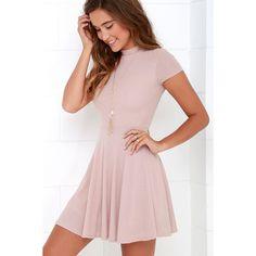 Endless Entertainment Blush Short Sleeve Skater Dress ($46) ❤ liked on Polyvore featuring dresses, flutter-sleeve dress, pink short sleeve dress, short sleeve skater dress, pink skater dress and pink skater skirt