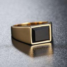 Emerald Black Diamond Engagement Wedding Pinky Ring Men's Yellow Gold Over Men's Jewelry Rings, Copper Jewelry, Modern Jewelry, Jewelry Shop, Jewelry Stores, Diamond Jewelry, Jewelry Gifts, Male Jewelry, Diy Jewelry