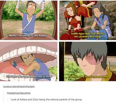 The rational parents of the group: Katara and Zuko. Appa did not eat Momo. Maybe something for https://Addgeeks.com ?