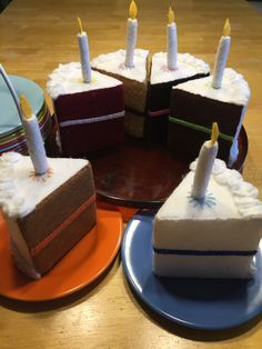 You CAN have your cake and (pretend to) eat it too! Felt Birthday cake with magnetic candles!! Perfect for a gift that lasts and lasts!