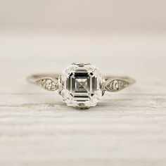 OMG Asscher-cut diamond. Such an elegant but interesting Art Deco ring. #engagement #ring #wedding #jewelry #diamond