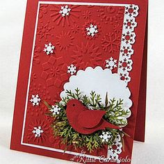 Christmas Cardinal and Snowflakes