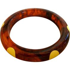 Rare Bakelite Tortoise Six Dot Bangle Bracelet