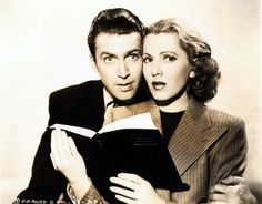 """James Stewart & Jean Arthur in a publicity photo for """"Mr. Smith Goes to Washington"""" (1939)"""