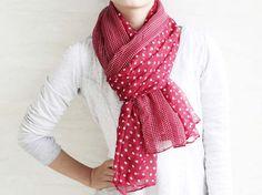 Maroon red Polka Dot scarf large size by blackbeanblackbean, $9.99