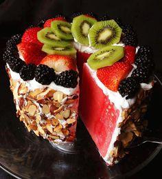 Paleo Watermelon Cake - a Paleo Dessert Recipe on dessertstalker Food Cakes, Cupcake Cakes, Cake Icing, Cupcakes, Ganache Cake, Fruit Cakes, Paleo Dessert, Dessert Recipes, Fruit Dessert